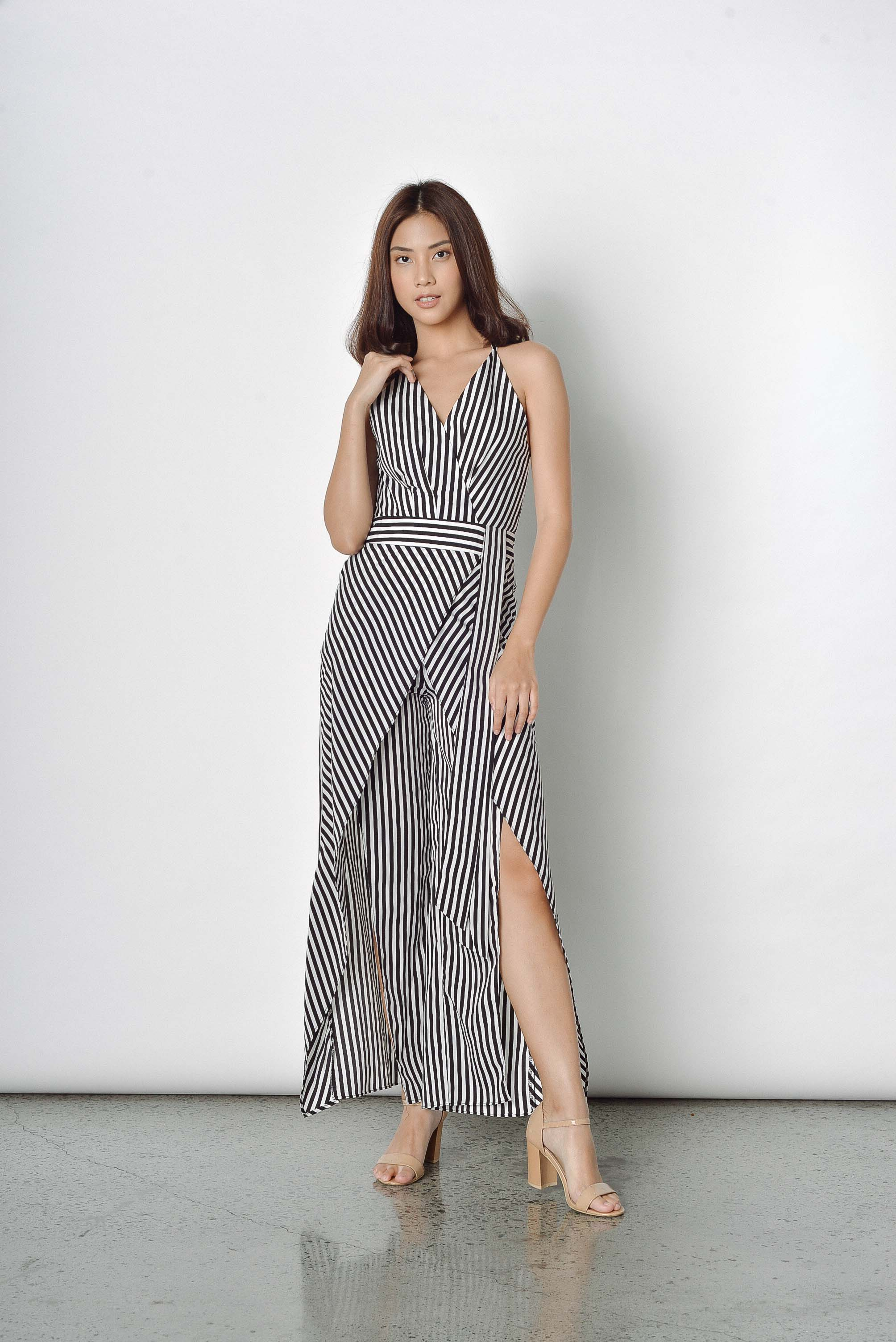 Cecily Stripes Jumpsuit in Black Stripes