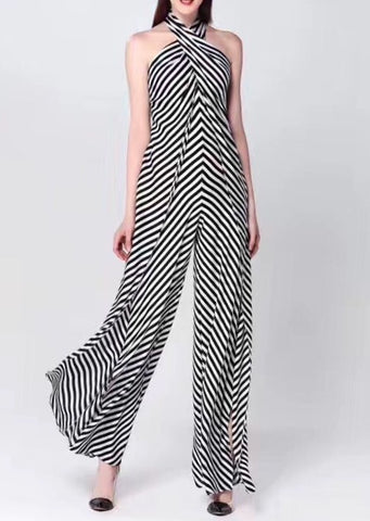 Claude Halter Jumpsuit in Black Stripes