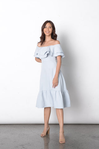 Desta Off Shoulder Dress in Light Blue