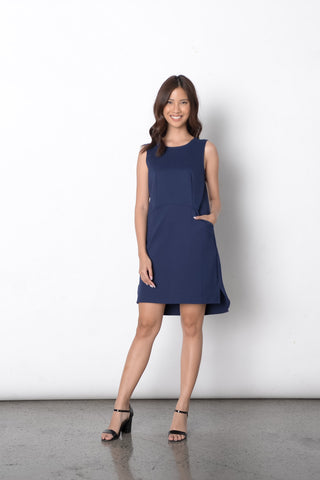 Dilek S/L Loose Dress in Navy