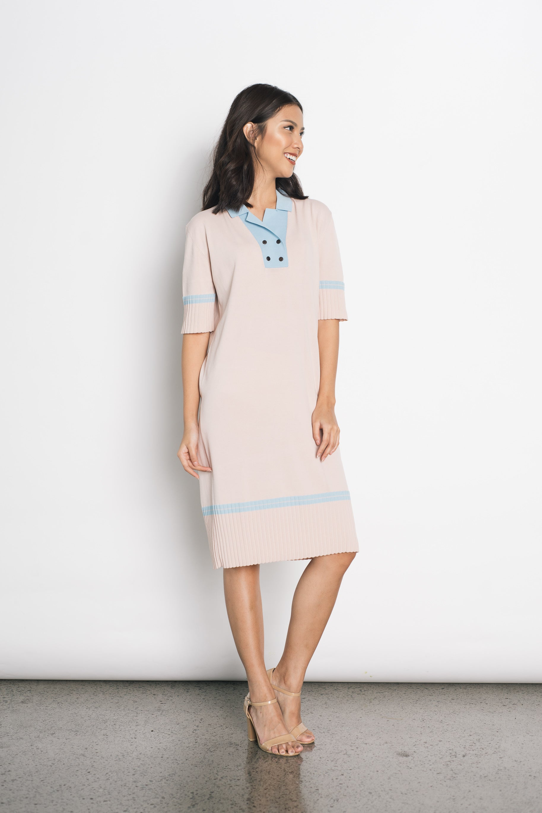 Donella Knitted Dress in Pink