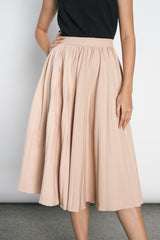 Duena Pleated Skirt in Beige