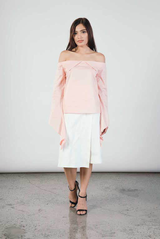 Diamante Off Shoulder Top in Pink