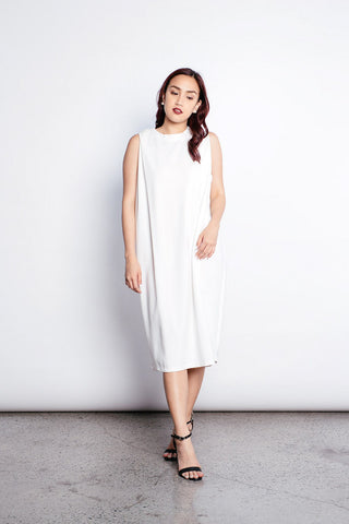 Franca V-neck T-shirt Dress in White