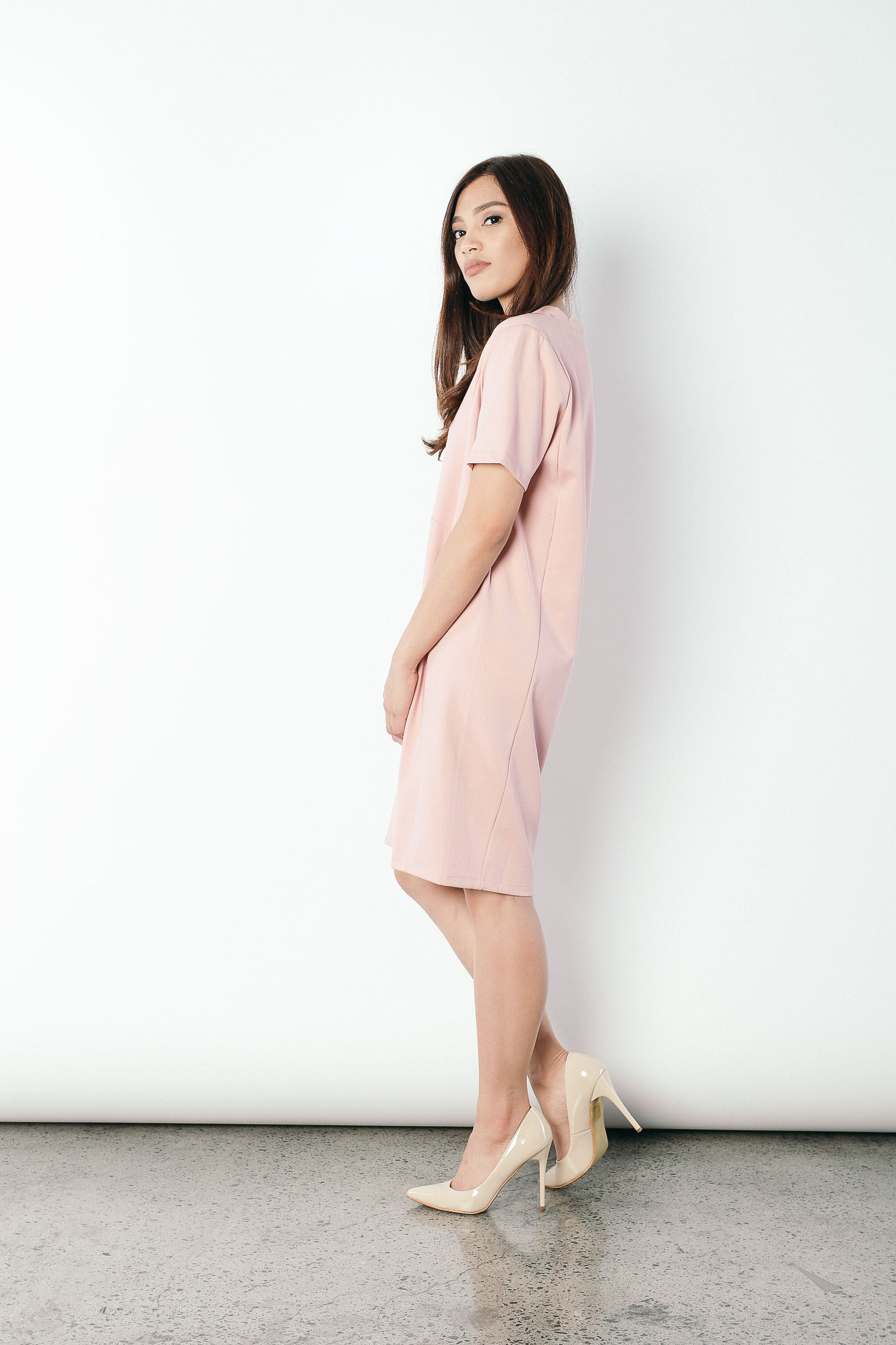 Franca V-neck T-shirt Dress in Pink