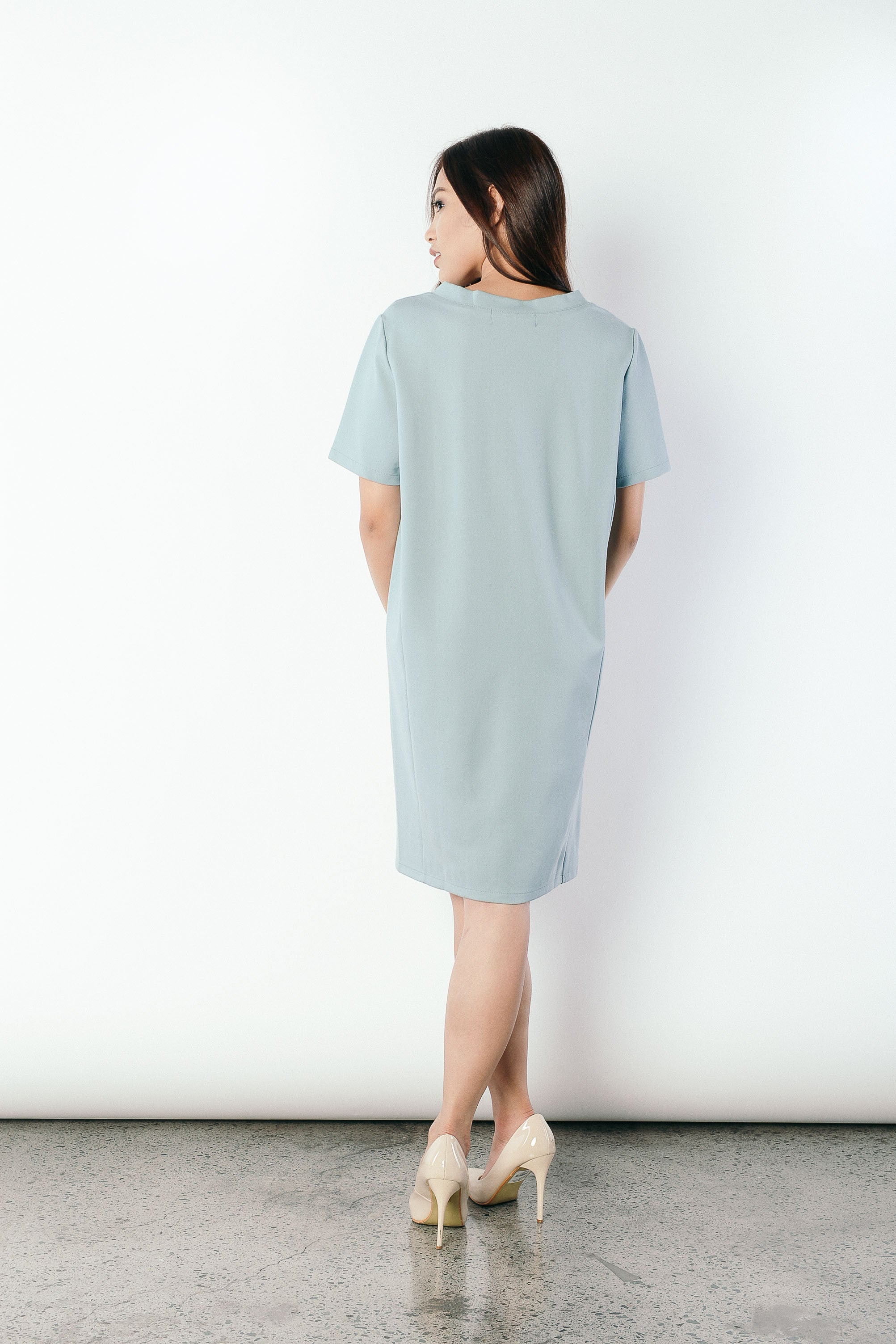 Franca V-neck T-shirt Dress in Green