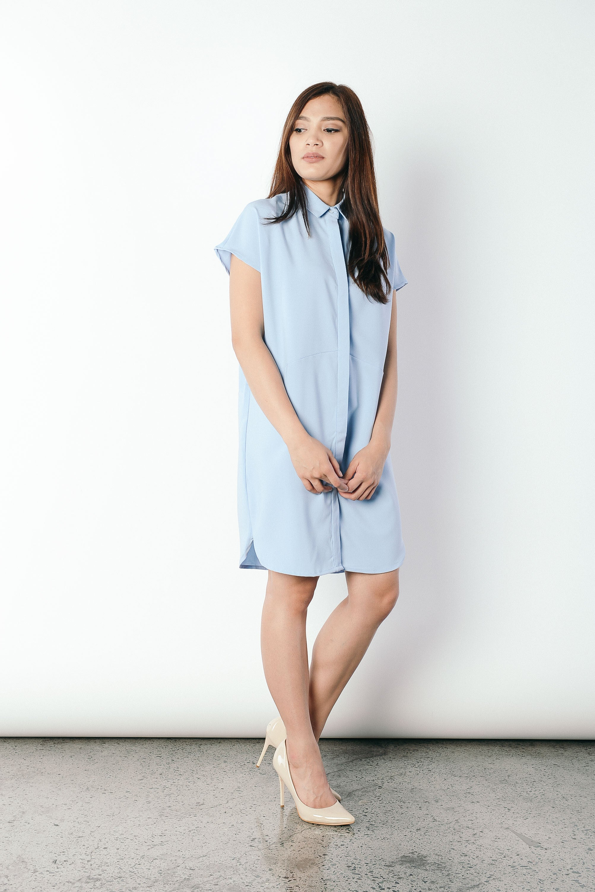 Geovana Collared Dress in Blue