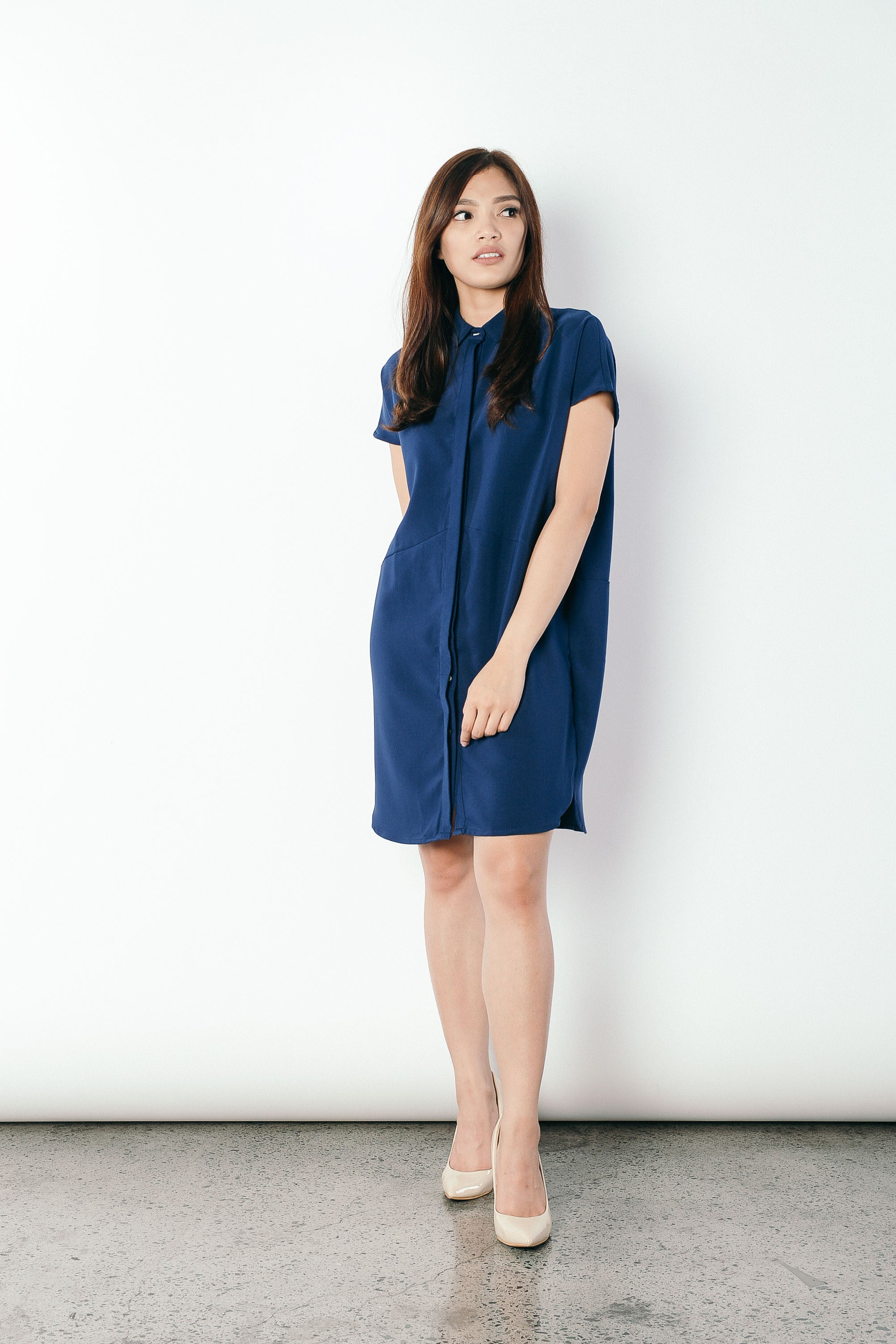 Geovana Collared Dress in Navy