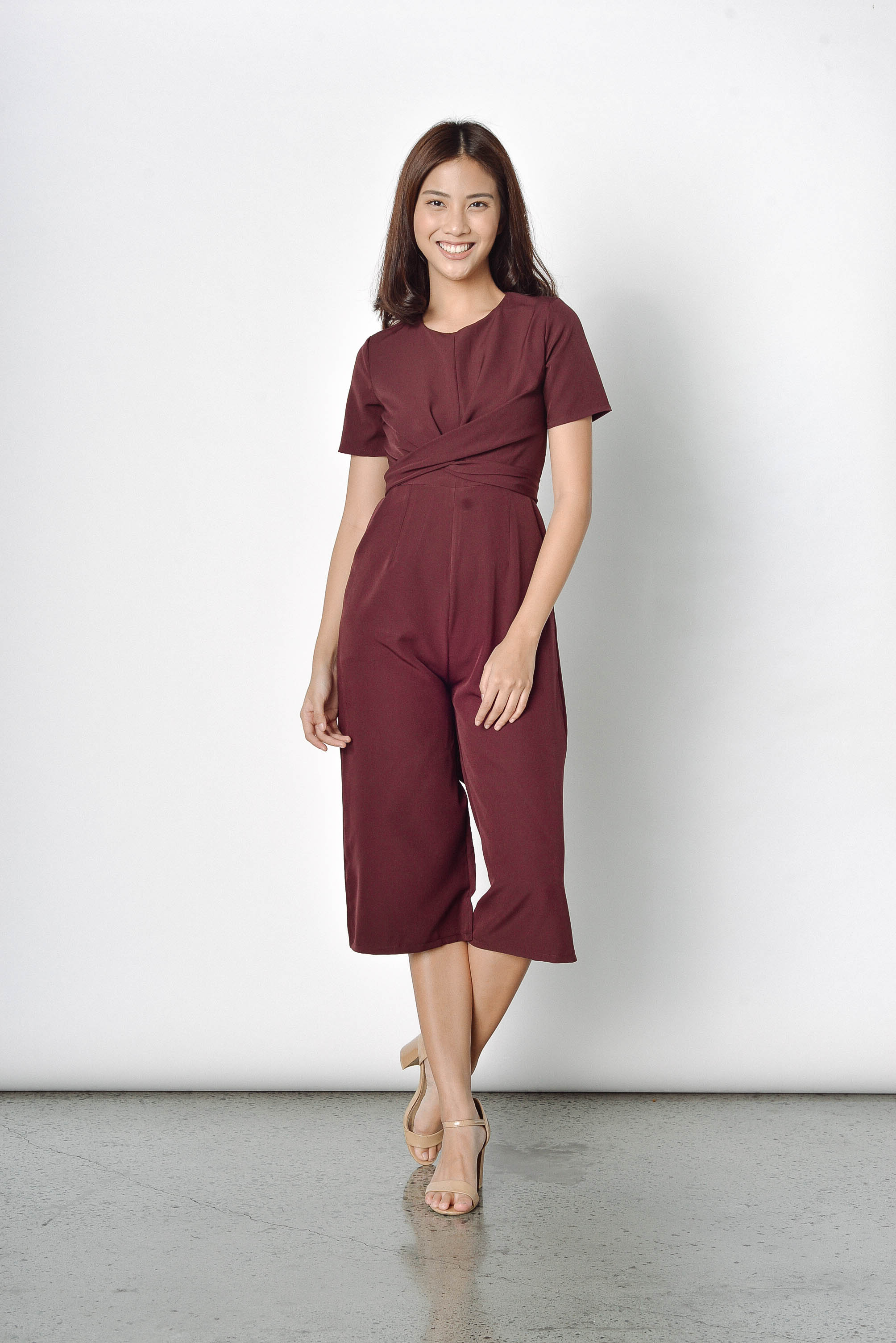 Opal Tied Up Culottes in Maroon
