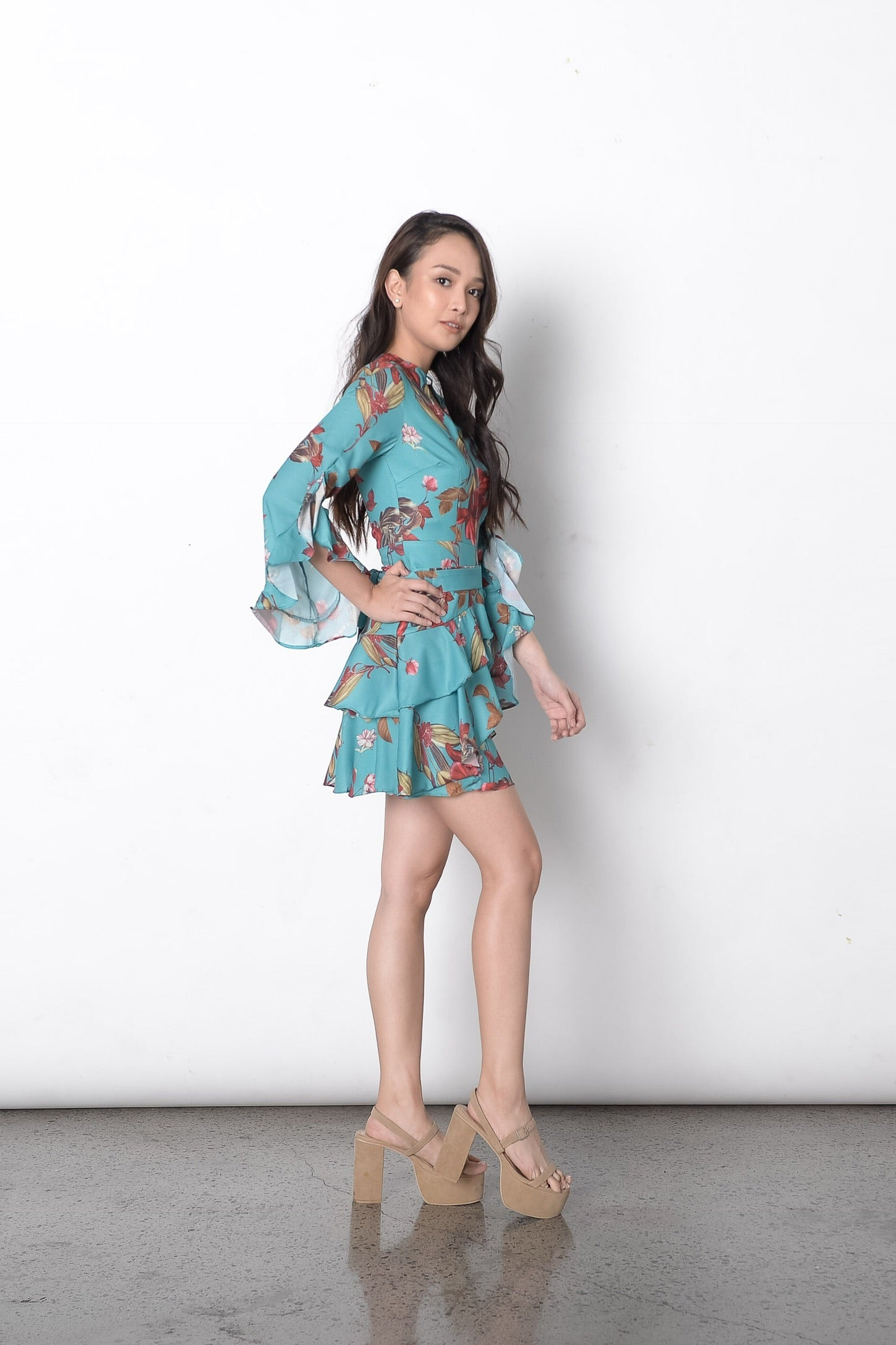 Debonnaire Floral Dress in Green