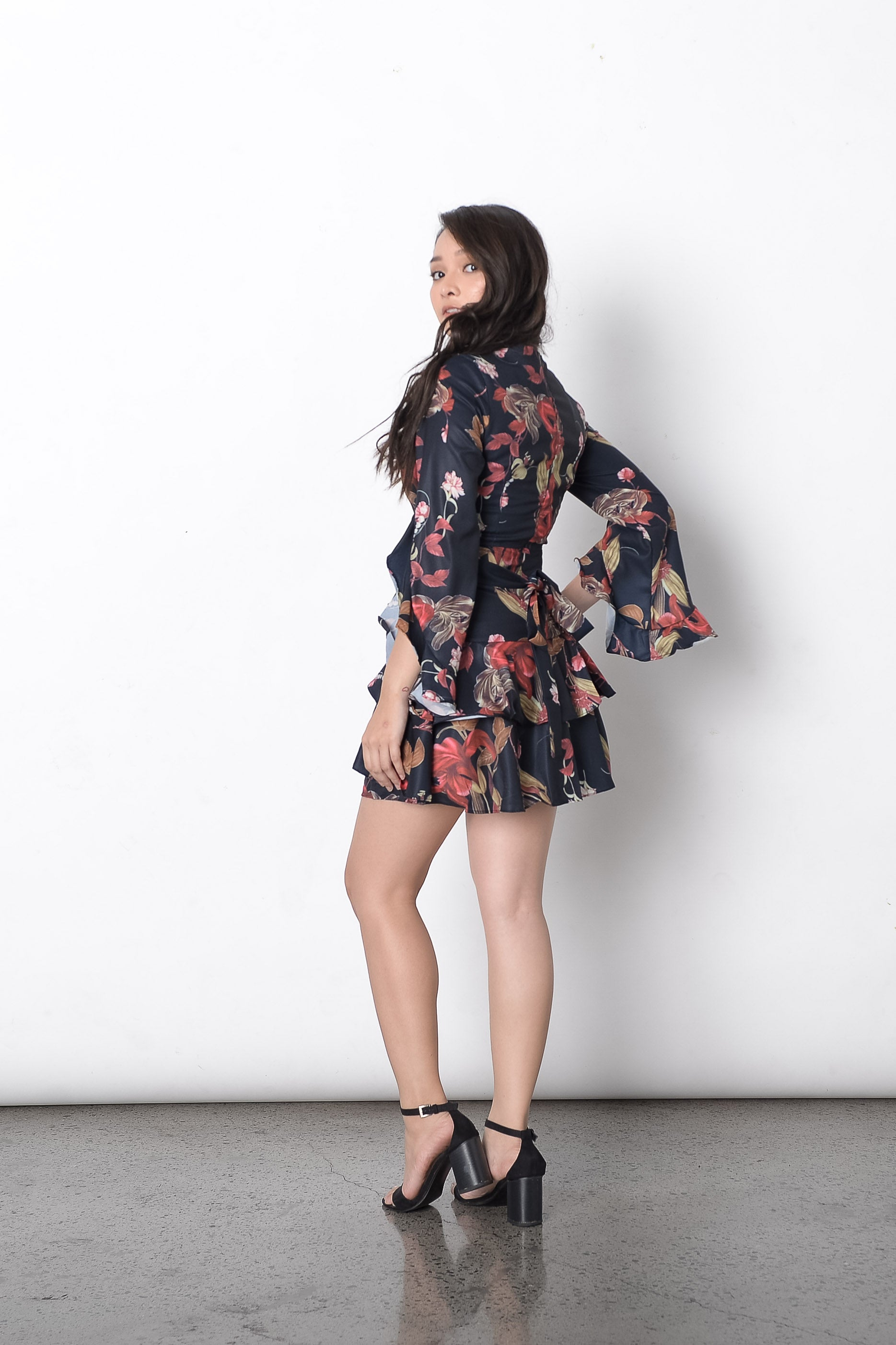 Debonnaire Floral Dress in Black