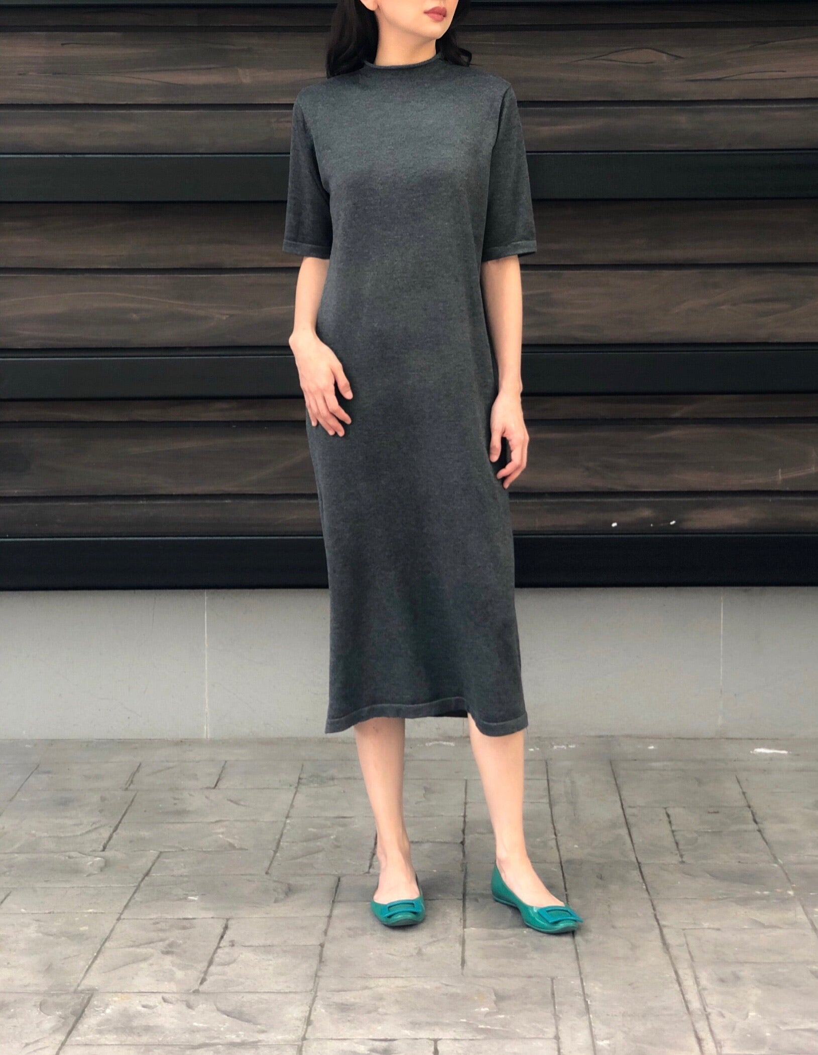 Lexi S/S Knitted Dress in Charcoal