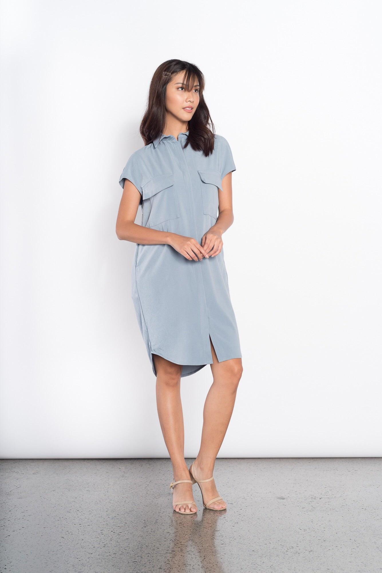 Electra 2 Pocket Zip Dress in Blue