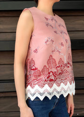 Odessa Lace Top in Pink Red
