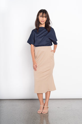 Genesis Long Back Skirt in Charcoal