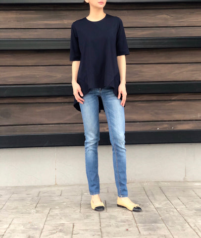Marcia Peplum Sleeves Top in Navy