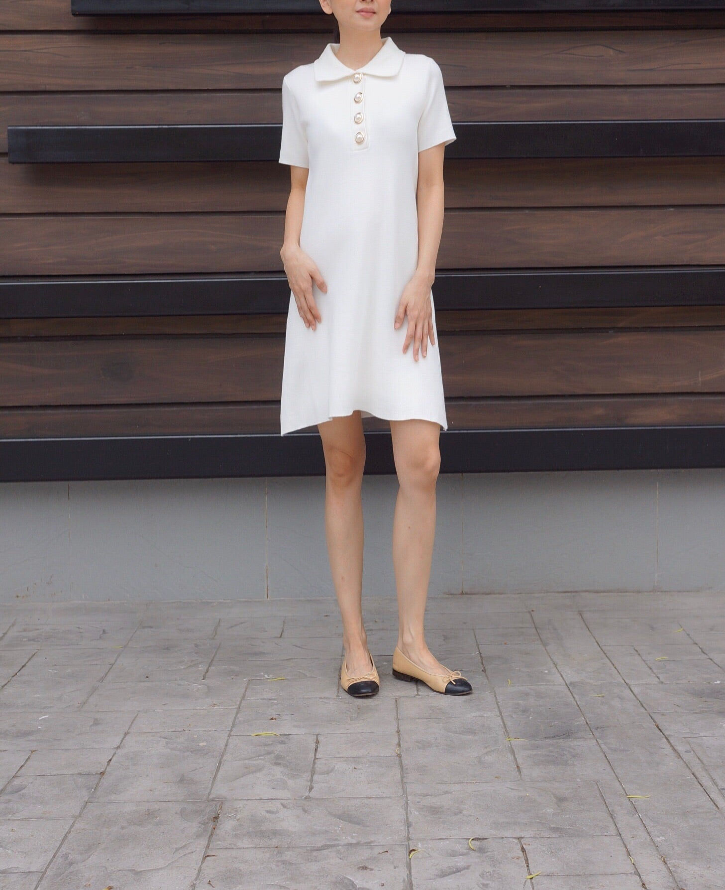 Karl Knitted Dress in White