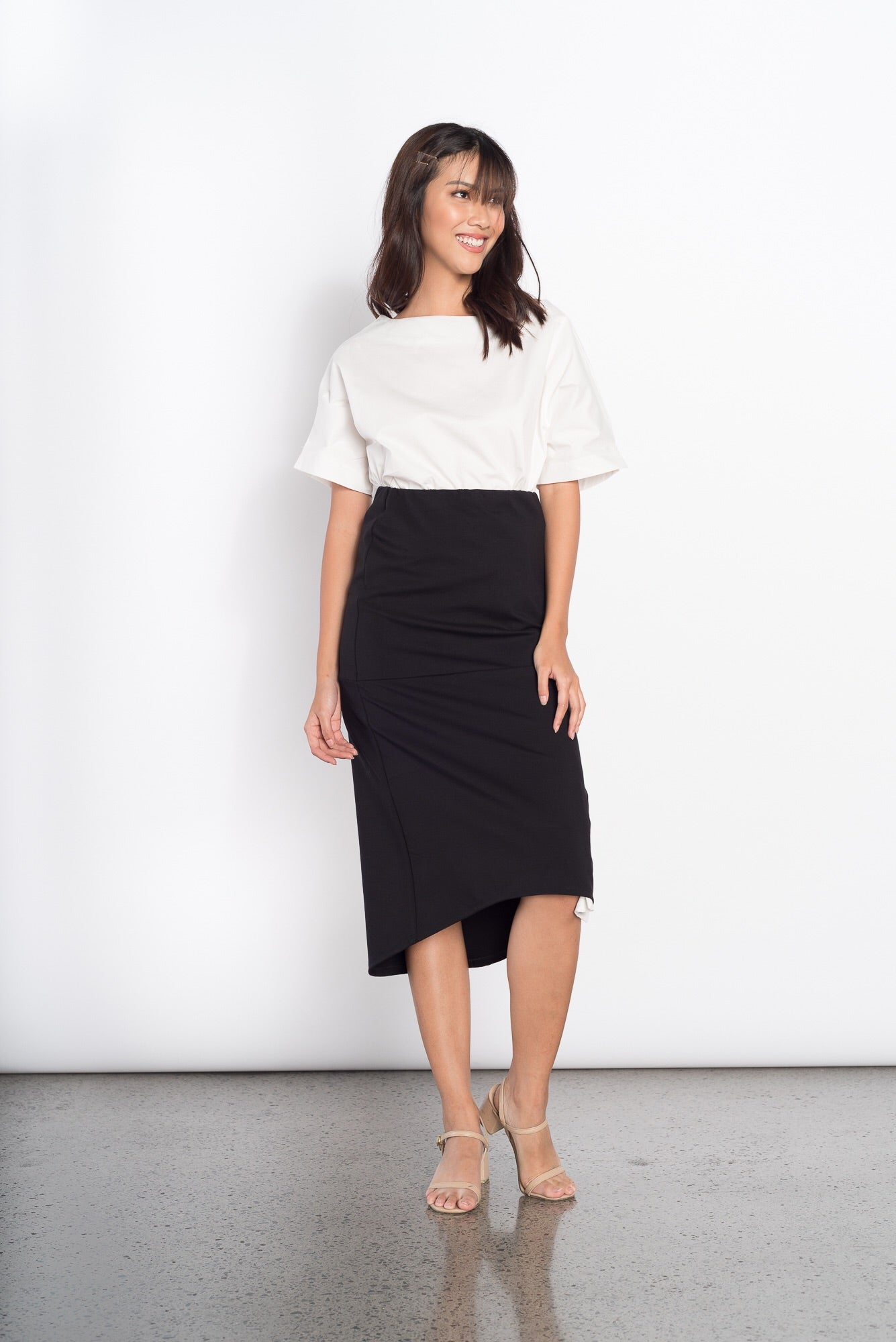 Genesis Long Back Skirt in Black