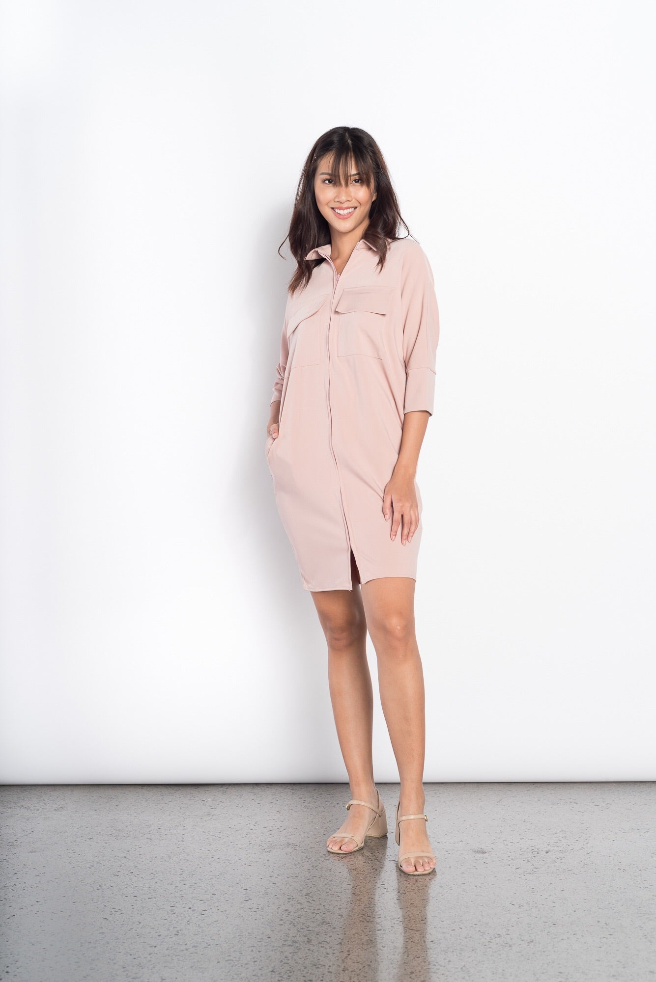 Freda 3/4 2 Pocket Dress in Pink