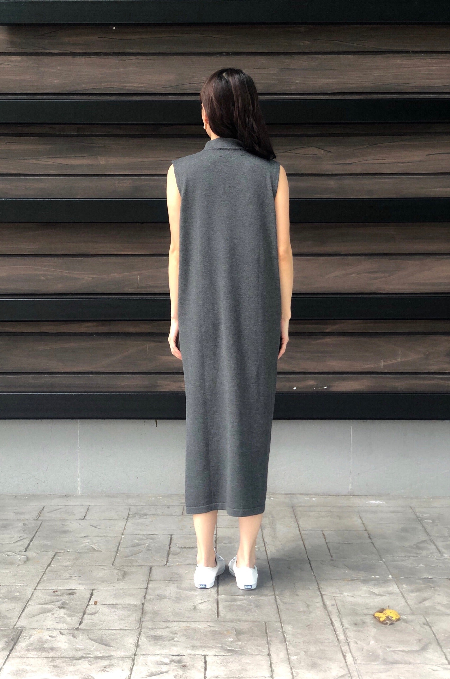 Leonore S/L Knitted Dress in Charcoal