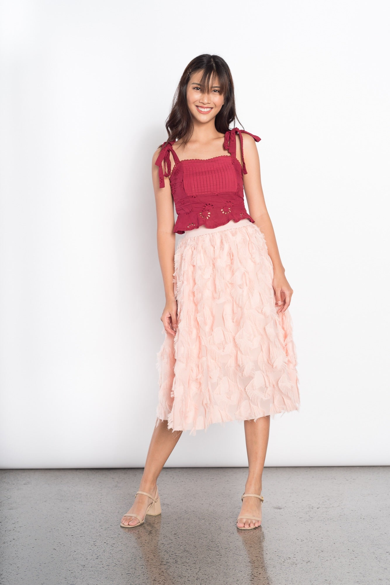 Gizi Feather Skirt in Pink