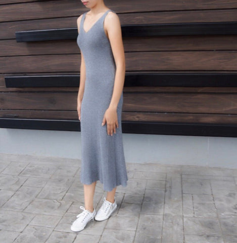 Eevi Knitted S/L Dress in Grey