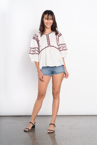 Gwen Embroidered Top in White