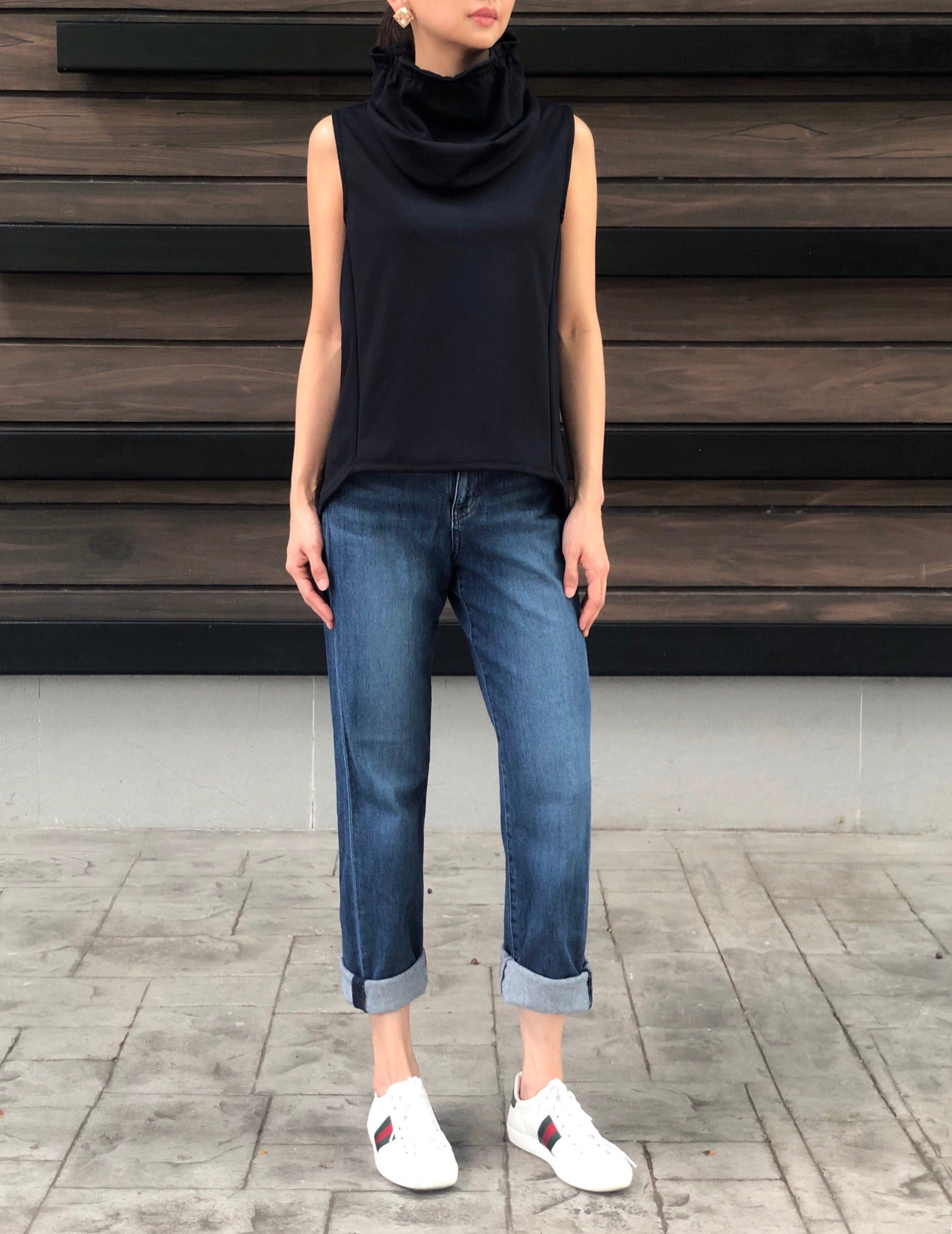 Charm T Neck Top in Navy