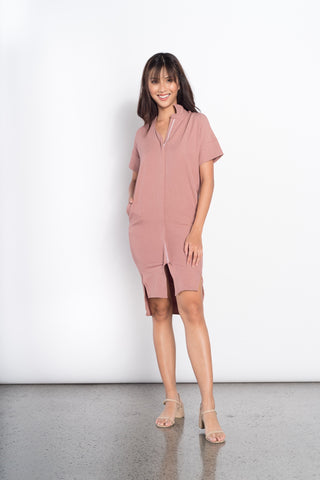 Jacey Zip Dress in Beige