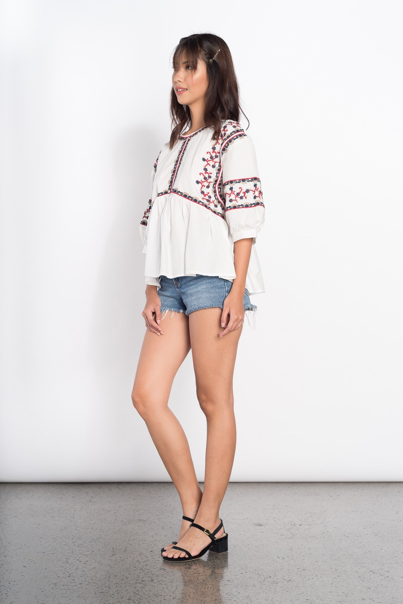 Haley Embroidered Top in White