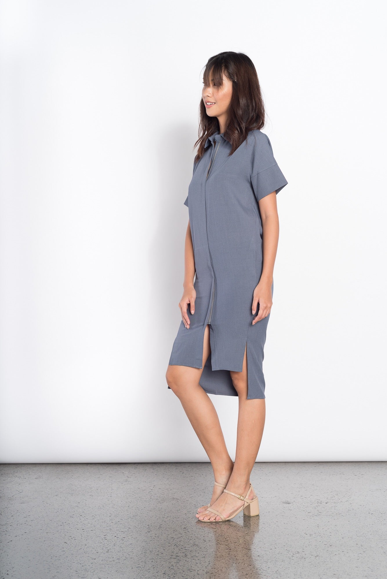 Frances S/S Collared Dress in Blue