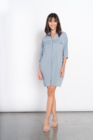 Freda 3/4 2 Pocket Dress in Blue