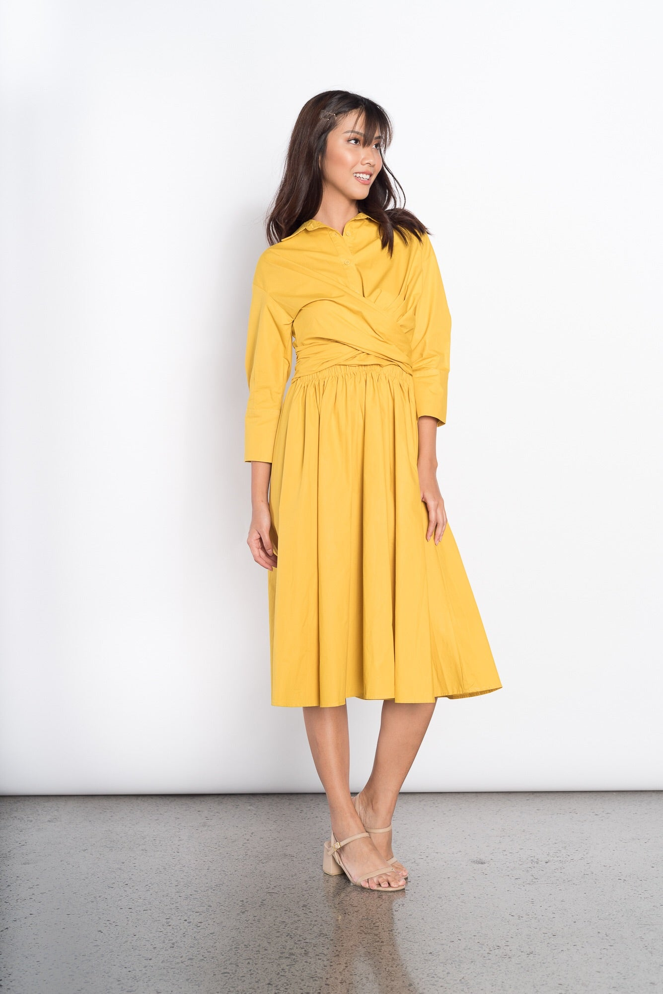 Ginevra Long Sleeve Dress in Yellow