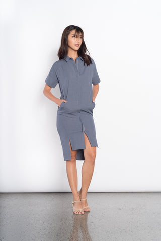 Fleur S/L 2 Pocket Dress in Blue