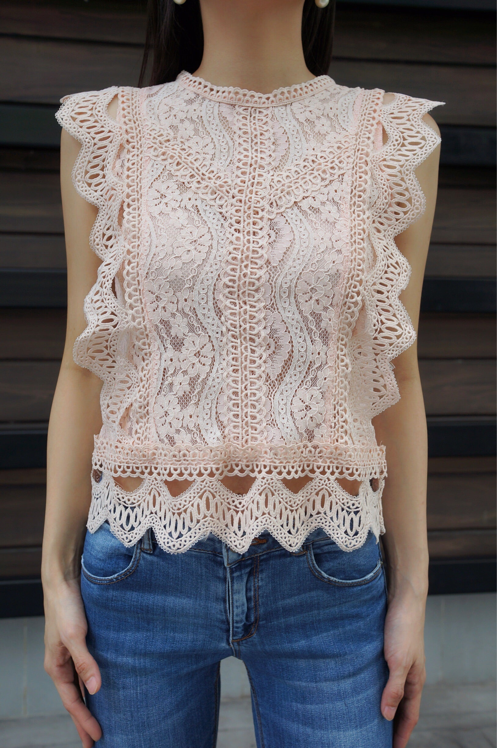 Ira Lace Top in Pink