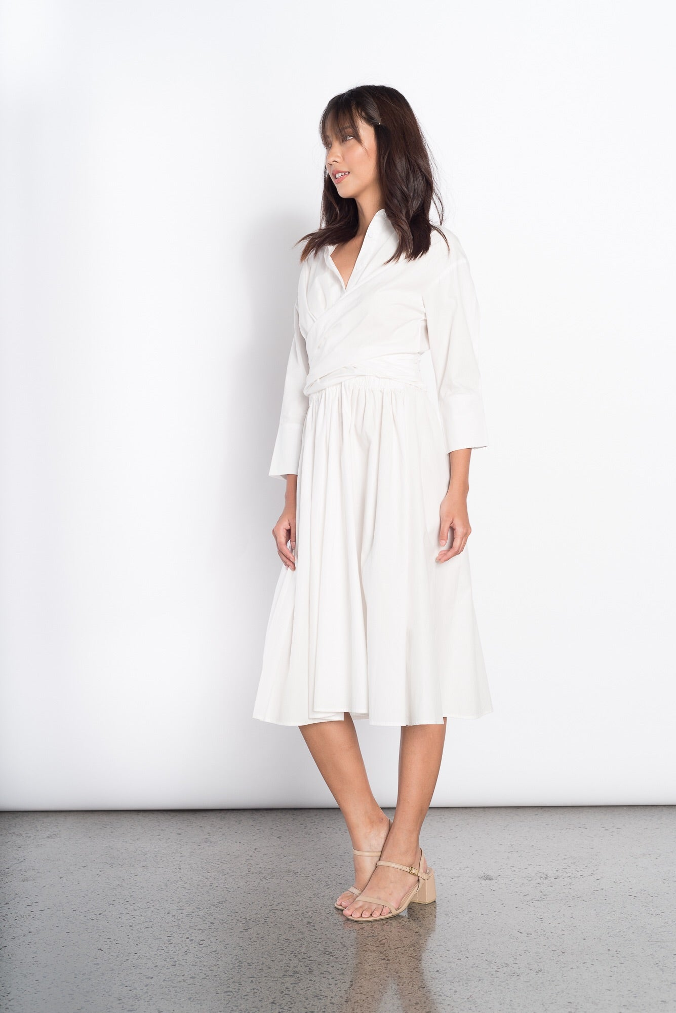 Ginevra Long Sleeve Dress in White
