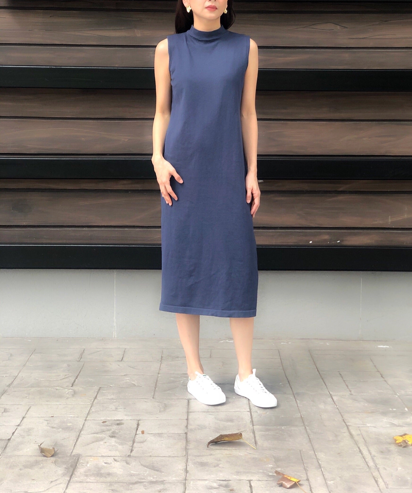 Leonore S/L Knitted Dress in Blue