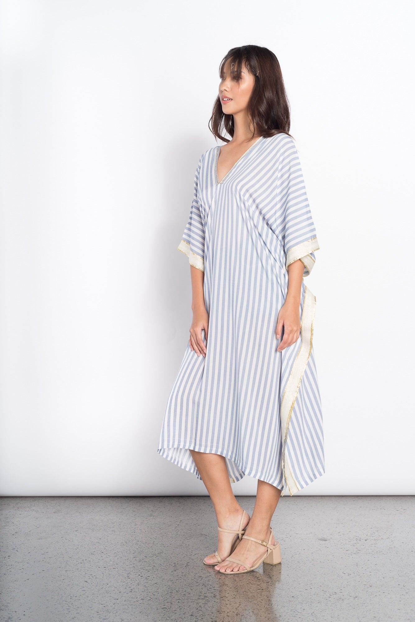 Glenna Cover Up in Blue Stripes