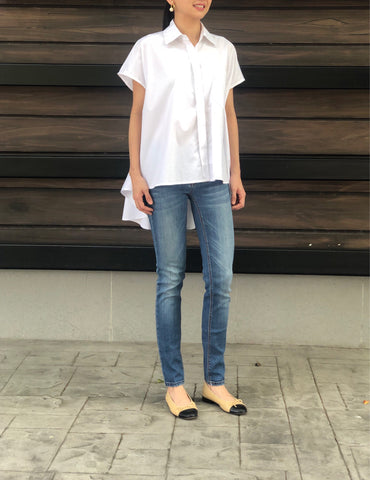 Charm T Neck Top in White