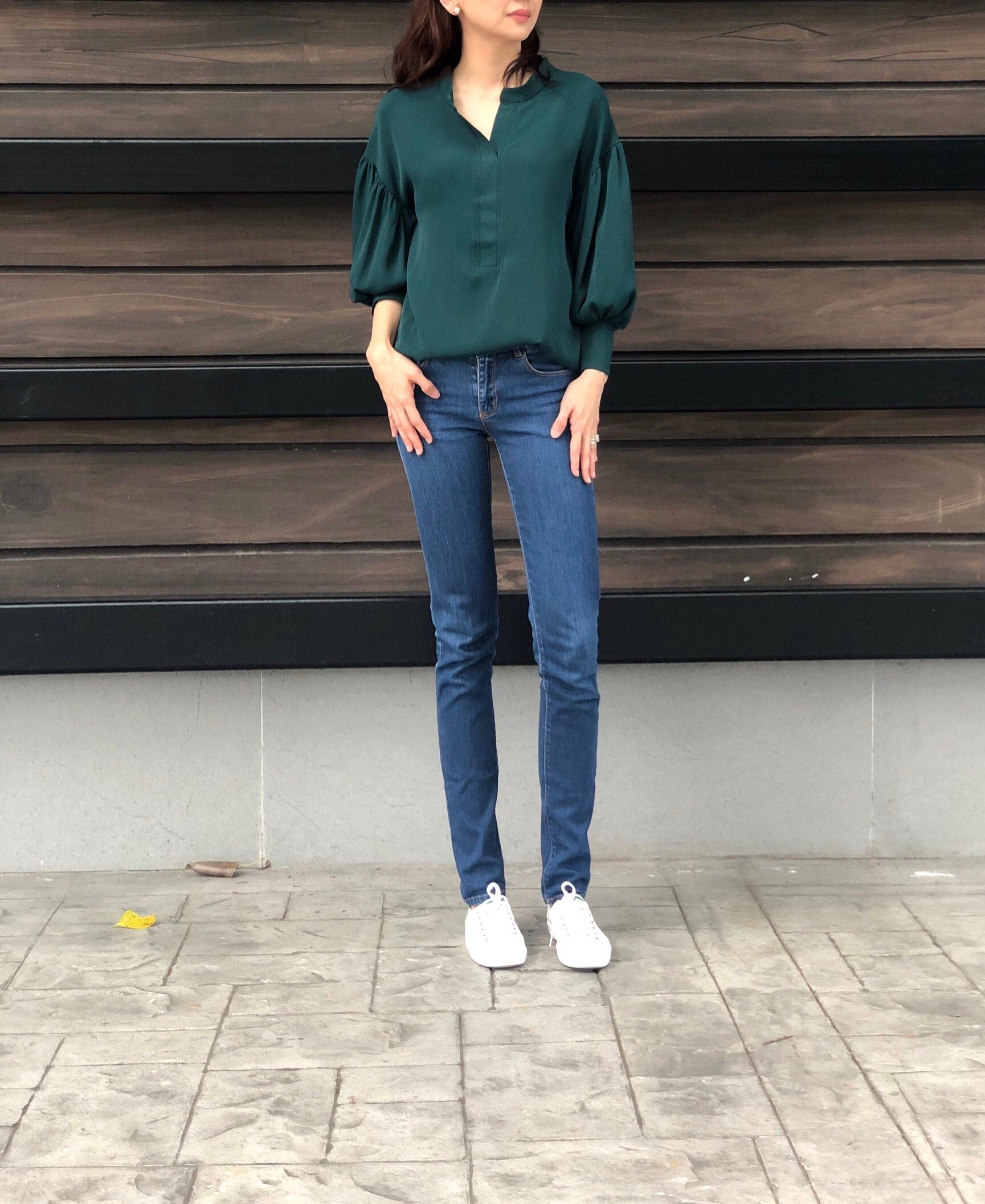 Marcia Peplum Sleeves Top in Emerald