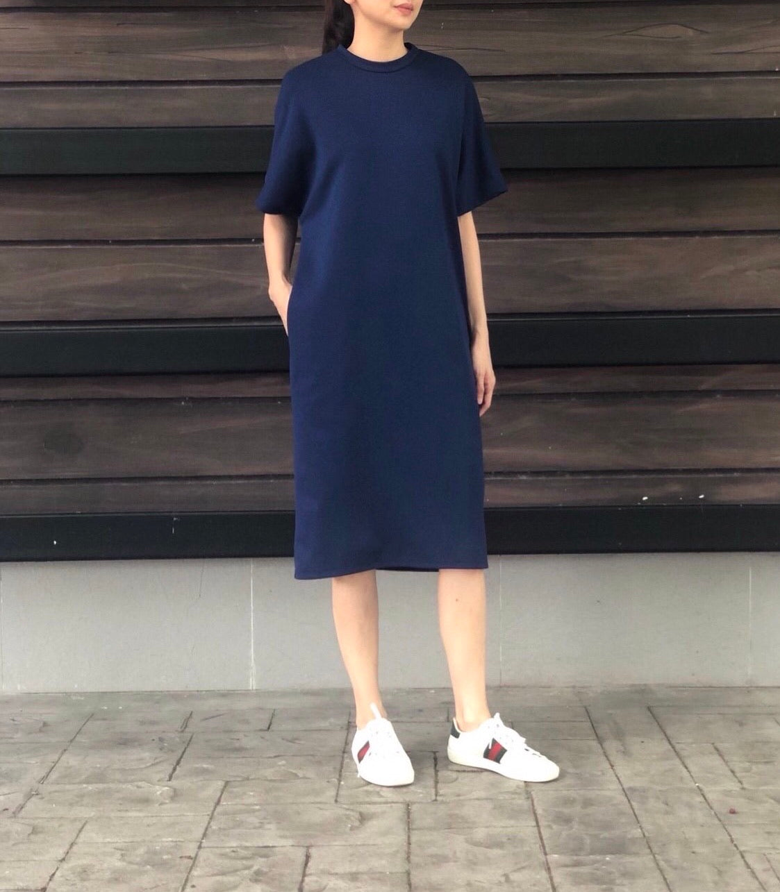 Zen Shirt Dress in Navy
