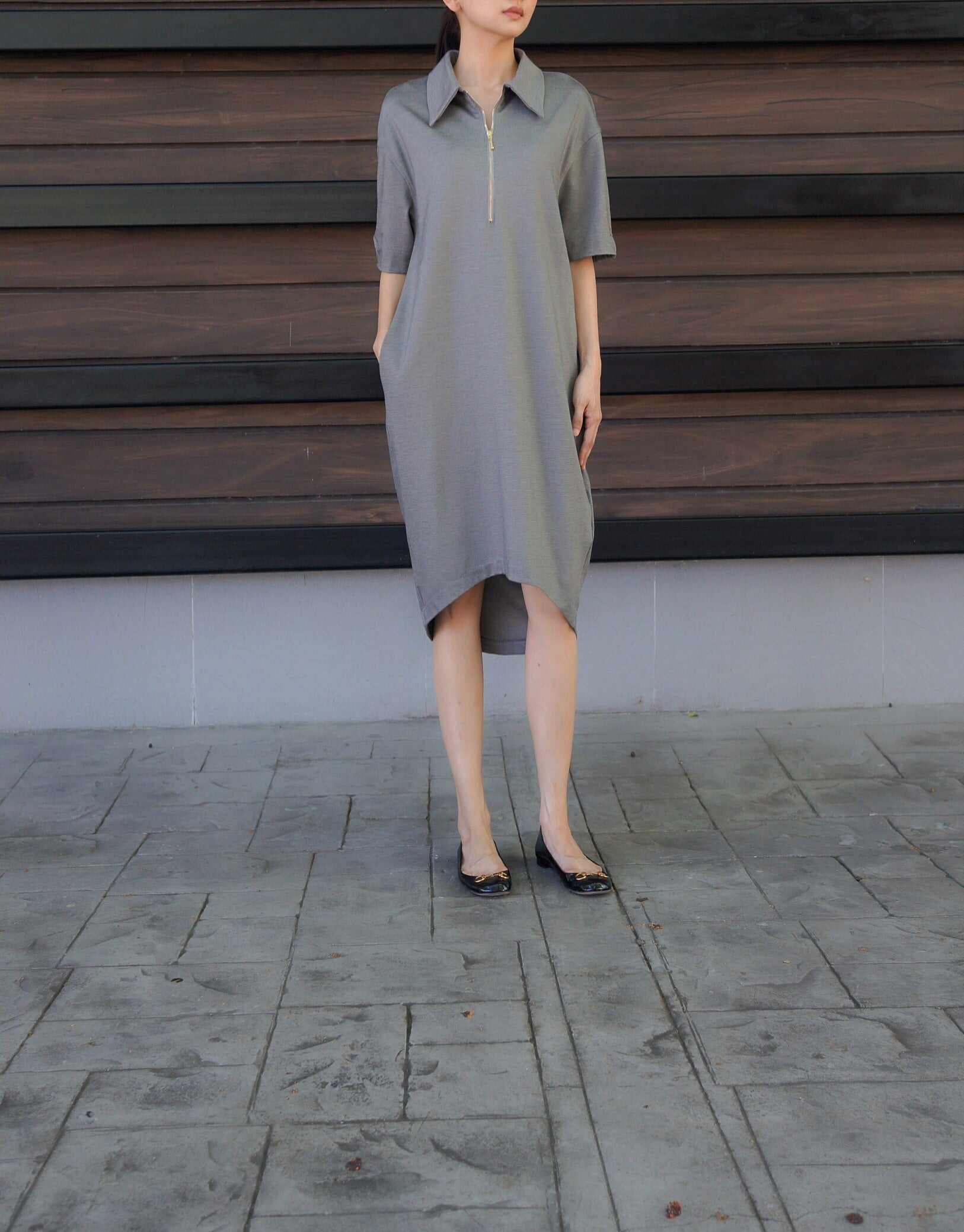Jamie Collared Zip Dress in Grey