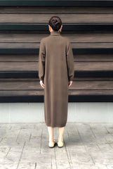 Lanvin Tneck Knitted Dress in Brown