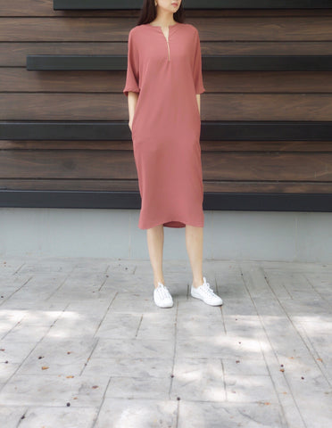 Electra 2 Pocket Zip Dress in Pink