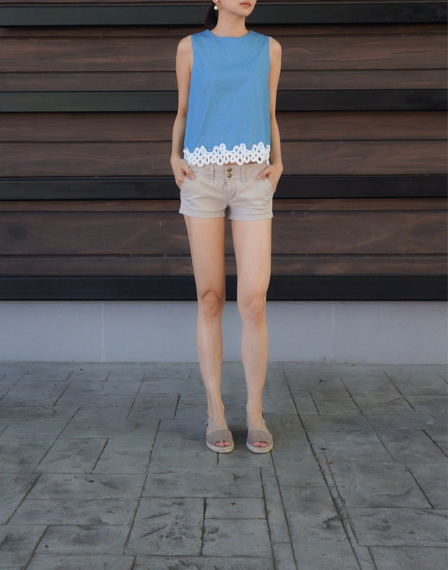Phina Denim Laced Top in Light Wash