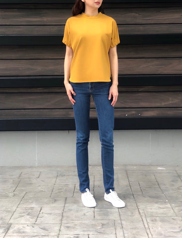 Ina Closed Neck Laced Top in Yellow