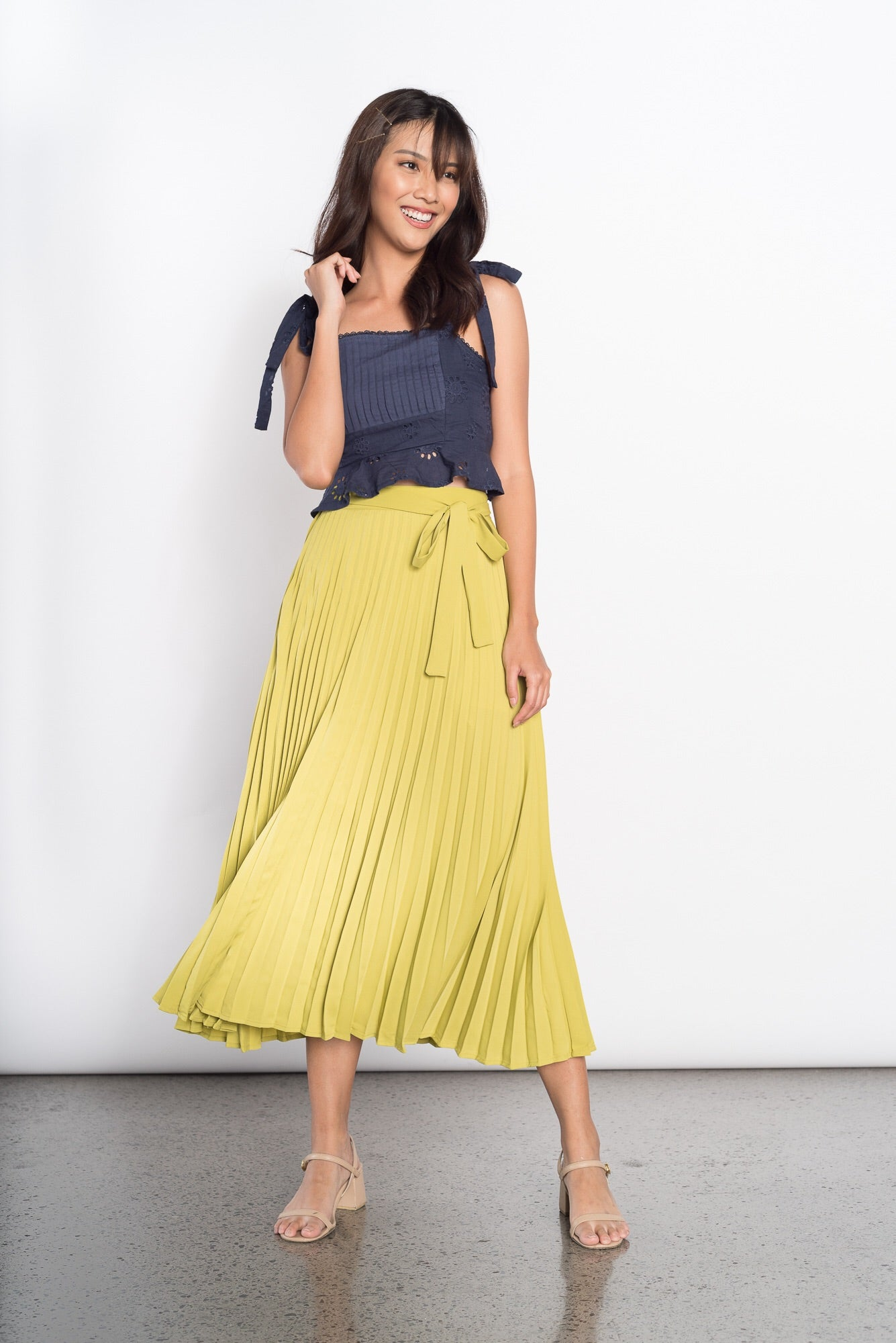 Gull Electric Pleated Skirt in Green
