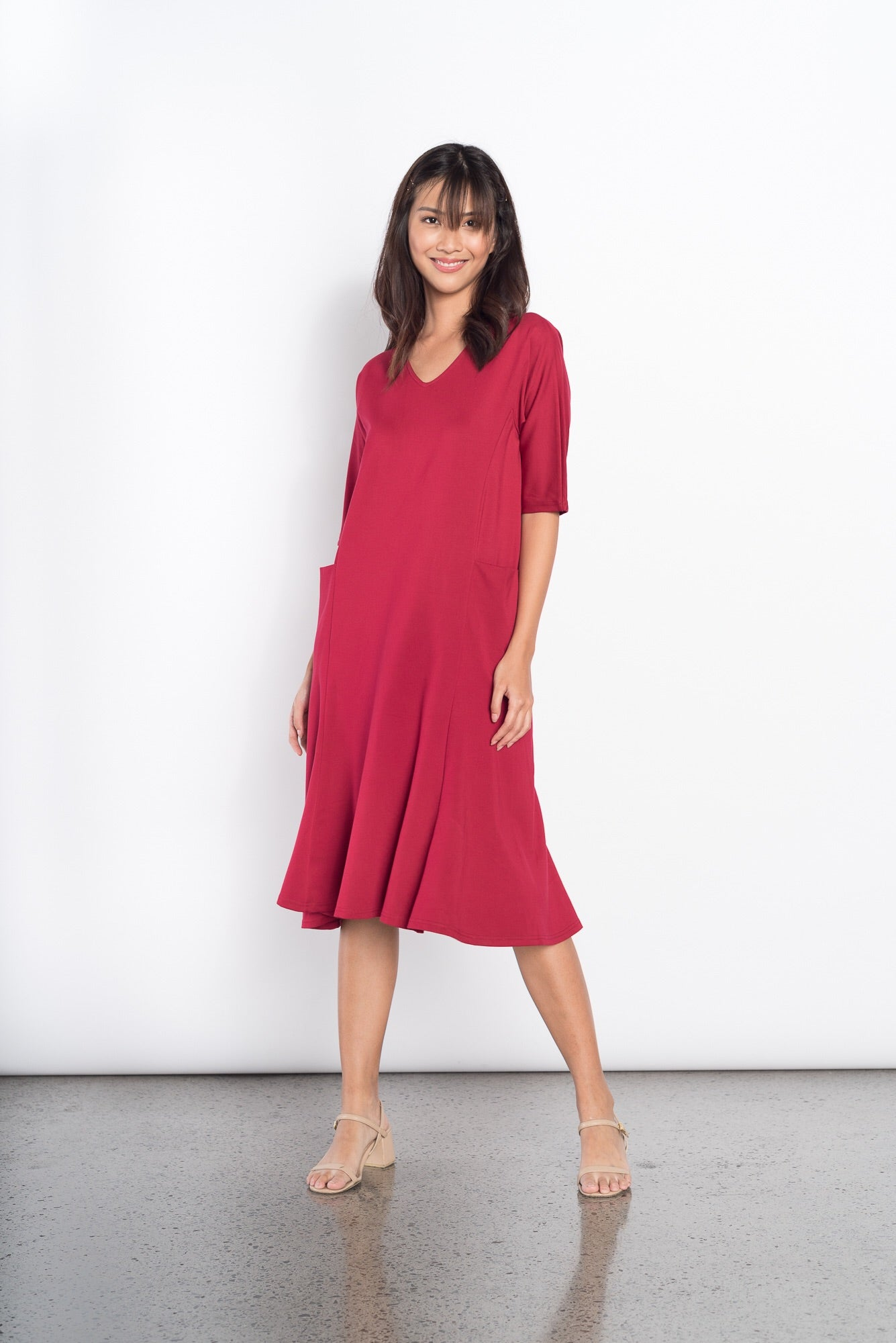 Gabriella Loose Dress in Maroon