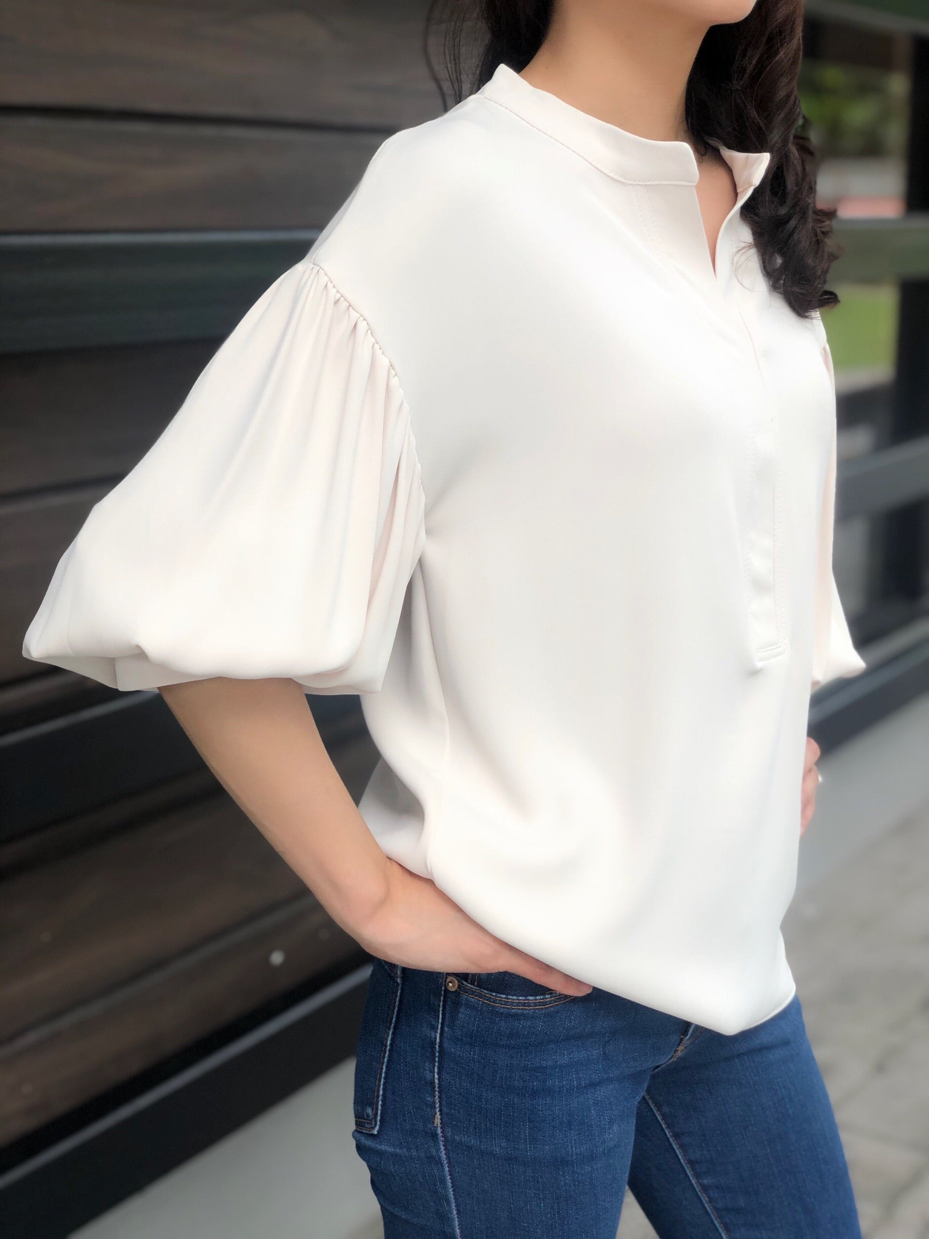 Marcia Peplum Sleeves Top in Creme