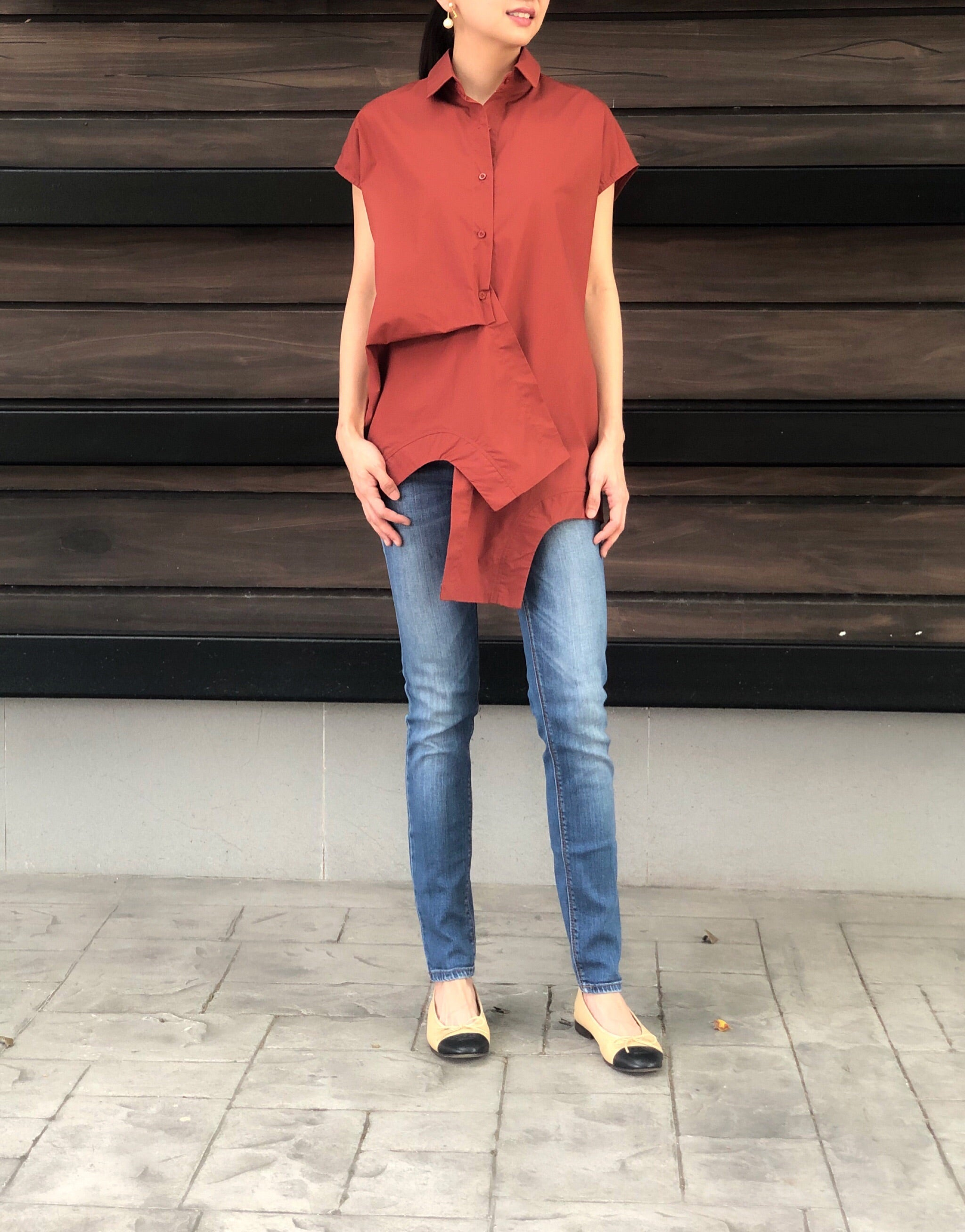 Juno Button Down Top in Rust